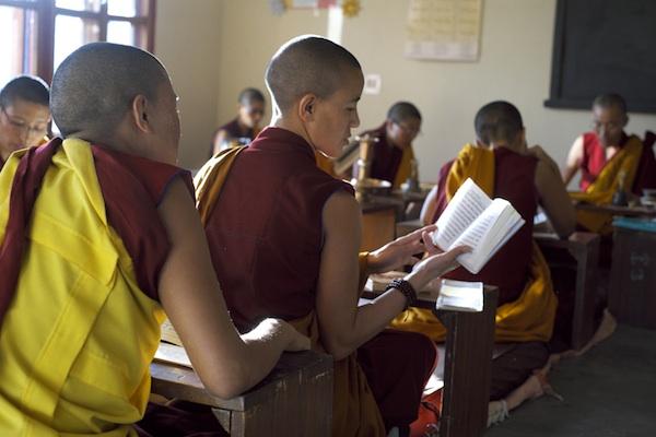 Tibetan Buddhist nun studying in classroom Tibetan Nuns Project