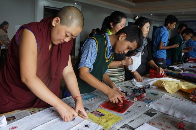 Tibetan Buddhist nuns at block printing workshop