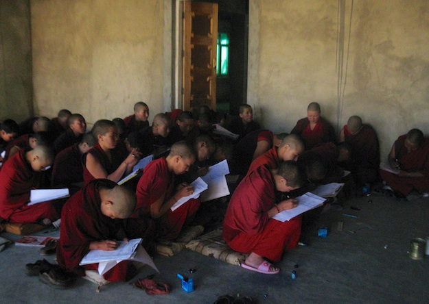 Buddhist nuns studying outdoors Sherab Choeling 2014