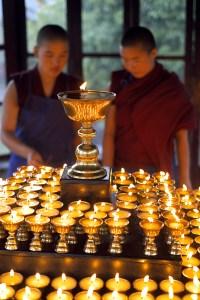 Tibetan Buddhist nuns performing puj