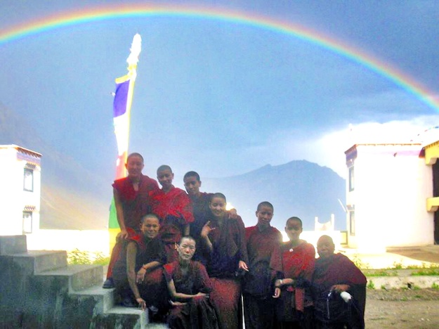 nuns and rainbow at Sherab Choeling