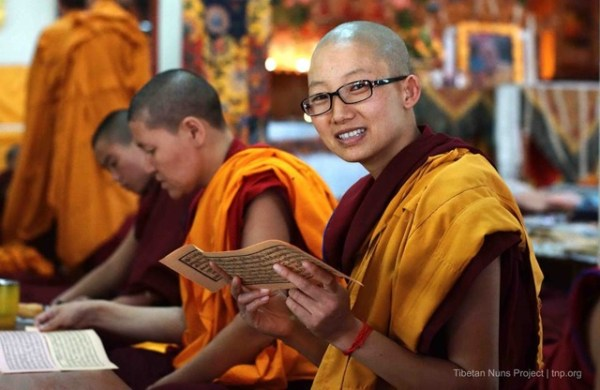 Buddhist nun reading sacred texts