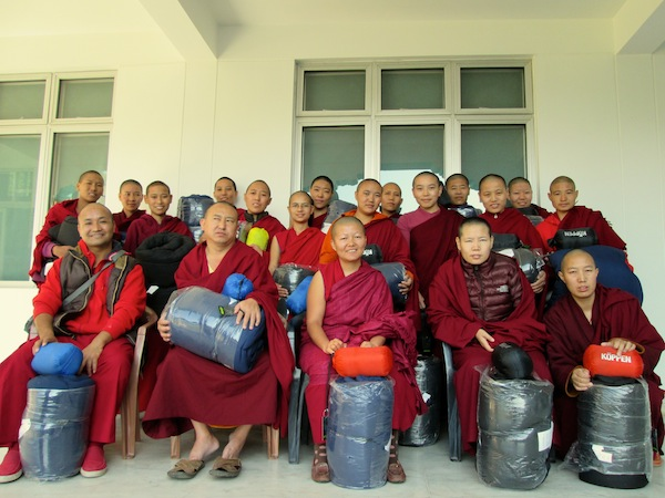 Sakya nuns with gifts of sleeping bags