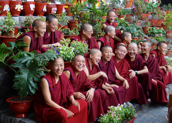 flower competition by Buddhist nuns