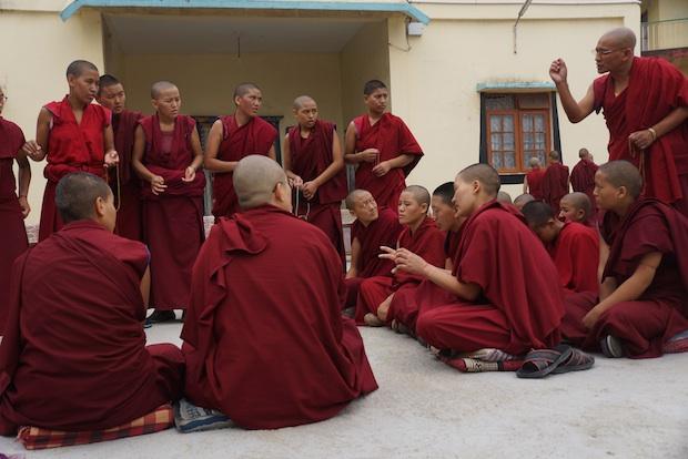 Tibetan Buddhist nuns debating at the Jang Gonchoe in 2015