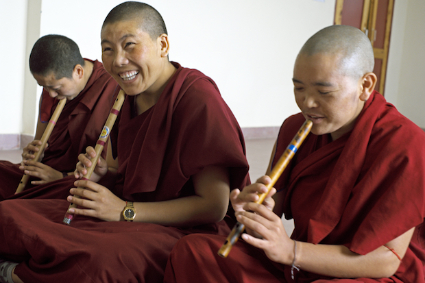 Tibetan Buddhist nuns flute