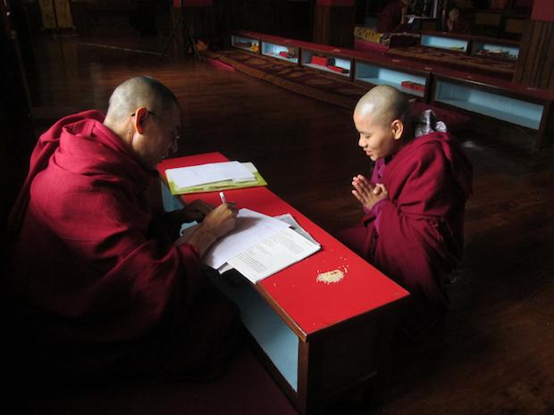 Tibetan Buddhist nun and her teacher
