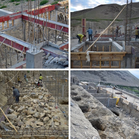 collage of photos showing construction at Dorjee Zong Nunnery in Zanskar