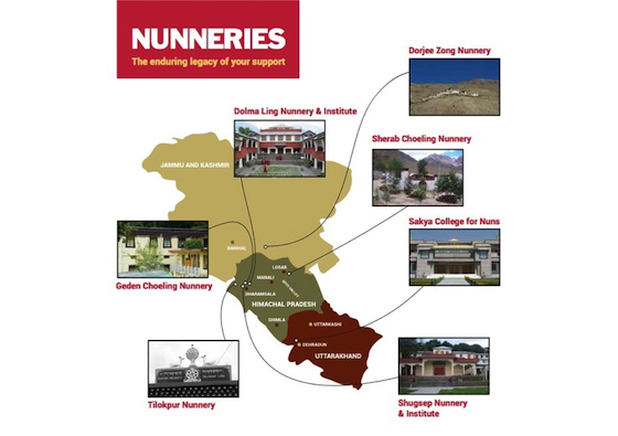 Map of Tibetan Buddhist Nunneries supported by Tibetan Nuns Project