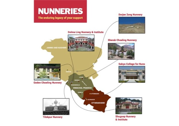 Tibetan nunnery, Buddhist nunnery, Map of Nunneries supported by the Tibetan Nuns Project, Tibetan Nuns Project, Tibetan Buddhist nunneries, Tibetan Buddhism, Tibetans in exile, Buddhist women,
