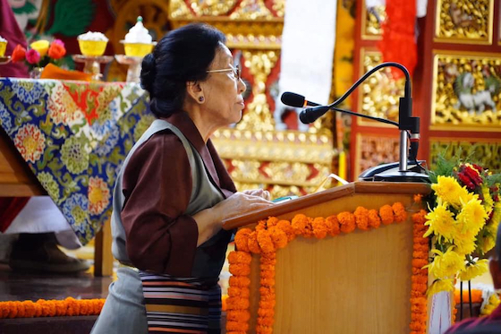 Rinchen Khando Choegyal speaking at Sakya College for Nuns