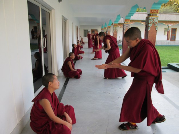 nuns practice debate at Sakya College for Nuns