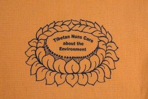 Shopping Bag Pumpkin is made of cotton, reusable and eco-friendly with Tibetan Nuns Project screenprint on both sides, handmade by Tibetan nuns.