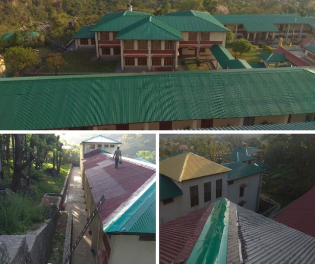 collage showing Shugsep Nunnery roof painting project