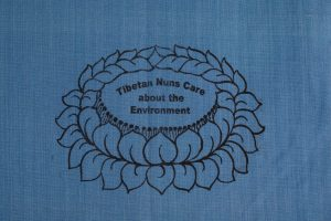 Light Blue Shopping Bag is made of cotton, reusable and eco-friendly with Tibetan Nuns Project screenprint on both sides, handmade by Tibetan nuns.