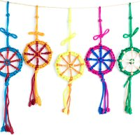 Dharma Wheels made with a brightly-colored cord by Tibetan Buddhist nuns, charms used for the home and car decor meaning wheel of transformation