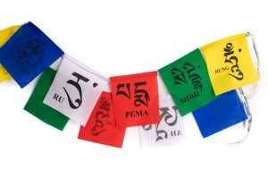 Tibetan multi-colored mini prayer flags, Prayer flags with mantra bring happiness, long life and prosperity, Tibetan prayer flags are inscribed with auspicious symbols, invocations, prayers, and mantras