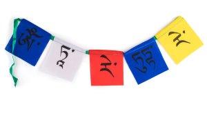 Mini multi-colored prayer flag Tara, Tibetan prayer flags are inscribed with auspicious symbols, invocations, prayers, and mantras
