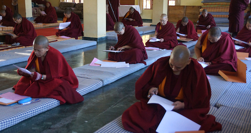 Geshema nuns taking their final exams in Buddhist Tantric Studies Jan 2019