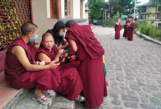 Tibetan Buddhist nuns at Dolma Ling register to be vaccinate