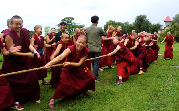 Tibetan Nuns Project, Tibetan Buddhism, nuns, Nuns' Media Team, Dolma Ling Nunnery, Tibetans, tug of war