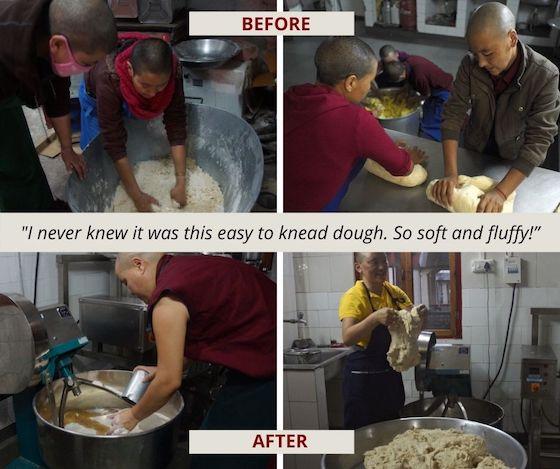 before and after, Tibetan Buddhist nuns using new dough machine