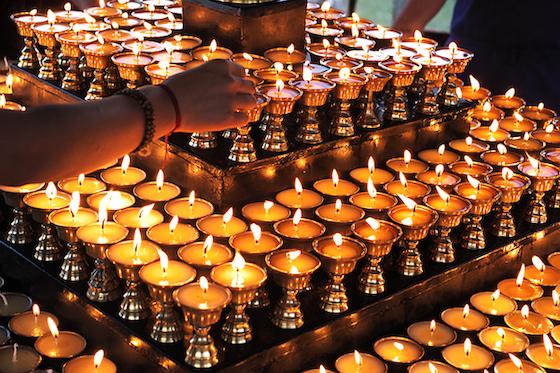 Tibetan butter lamps, offering butter lamps, lighting butter lamps