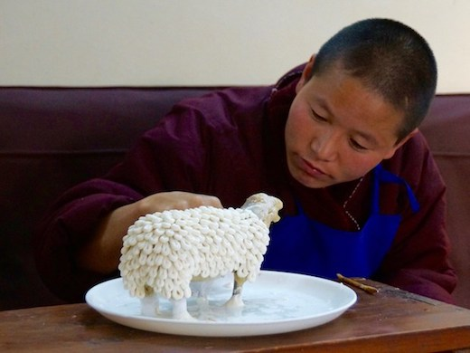 an elaborate Tibetan butter sculpture