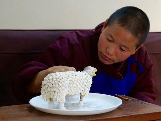 an elaborate Tibetan butter sculpture