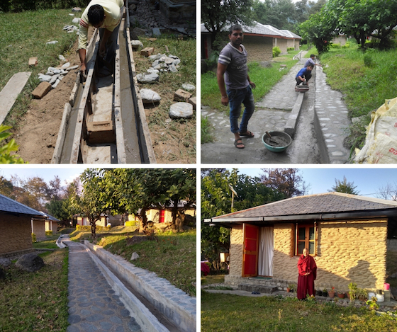 drainage work for retreat huts at Dolma Ling Nunnery and Institute 2019