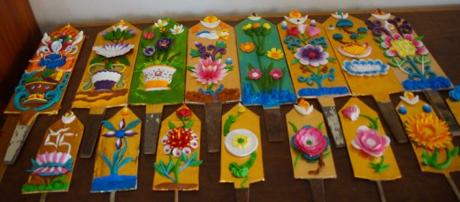 Tibetan butter sculptures made by the nuns at Dolma Ling for Losar, Tibetan New Year.