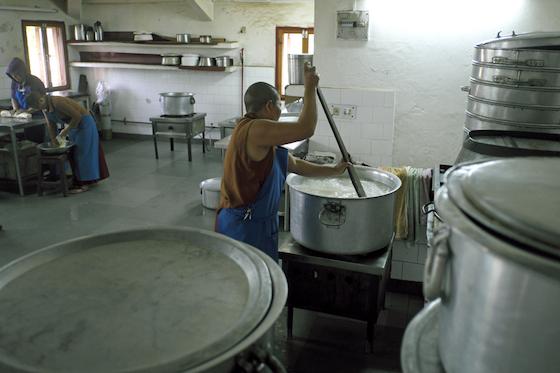 cooking rice, Buddhist nunnery kitchen, Dolma Ling, Tibetan Buddhist nuns