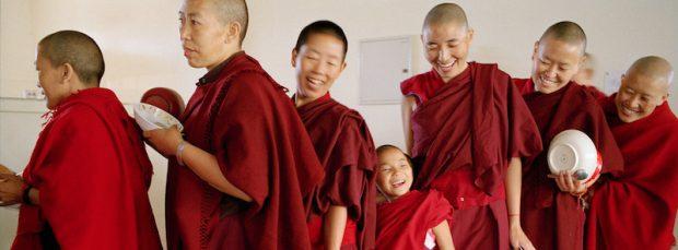 Tibetan Buddhist nuns in line, Tibetan Nuns Project
