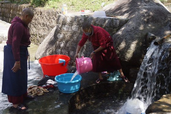 nuns washing at Dolma Ling Nunnery