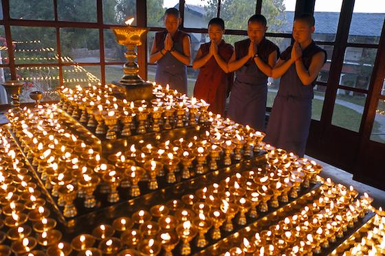 Tibetan butter lamps