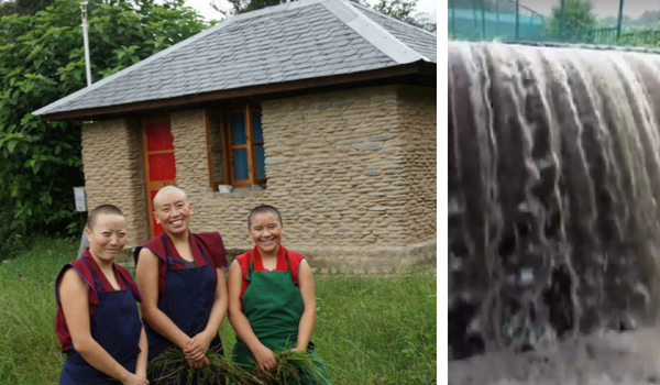 retreat hut drainage, retreat huts, nuns on retreat, Tibetan nun, Buddhist nuns. Dolma Ling Nunnery, Tibetan Nuns Project