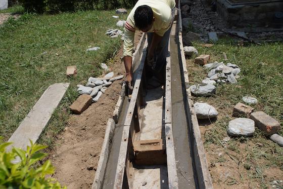 retreat hut drainage project at Dolma Ling