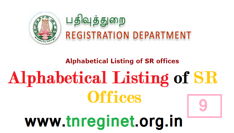 Alphabetical Listing of SR offices - tnreginet-net-in - 09