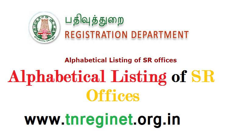 Alphabetical Listing of SR offices - tnreginet-net-in