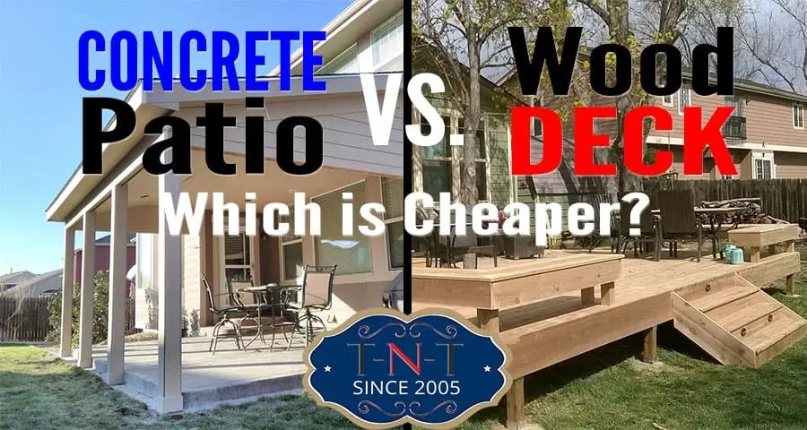 a concrete patio or wood deck