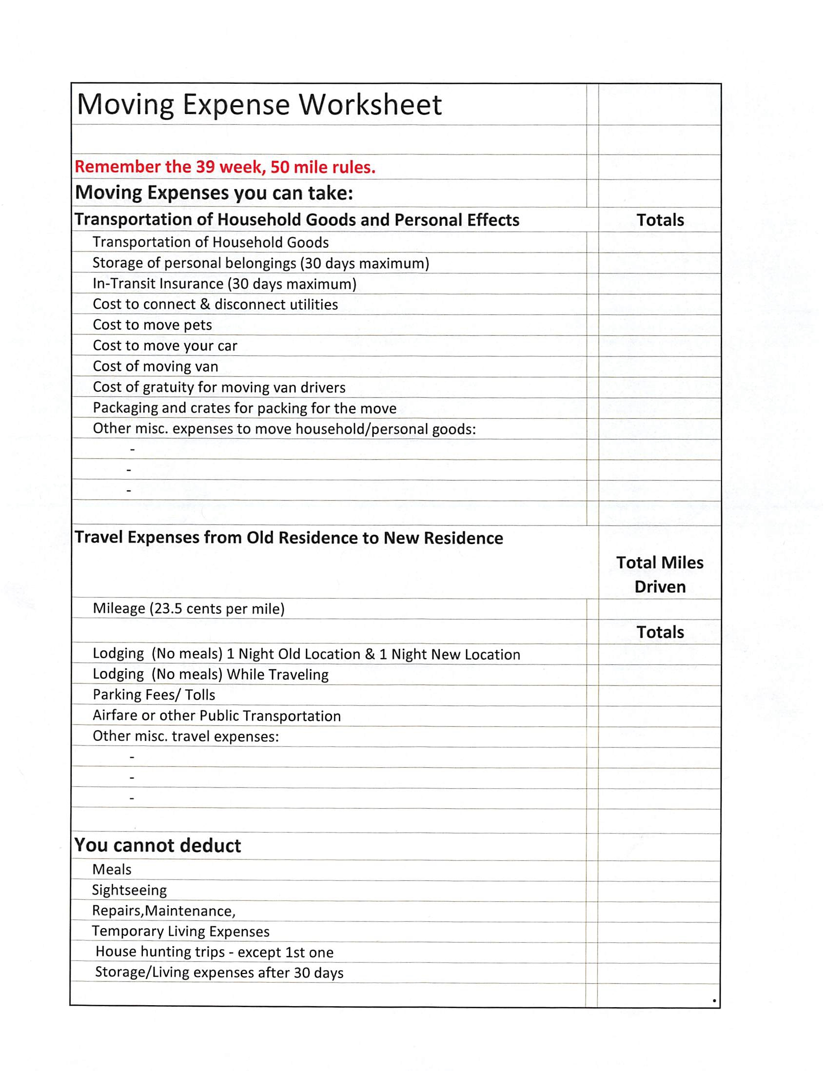 Moving Expense Worksheet