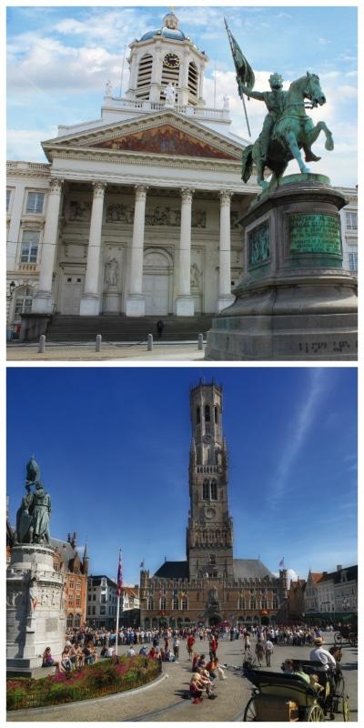 Royal Palace Königsplein Brussels and Market and Market Hall in Bruges Belgium