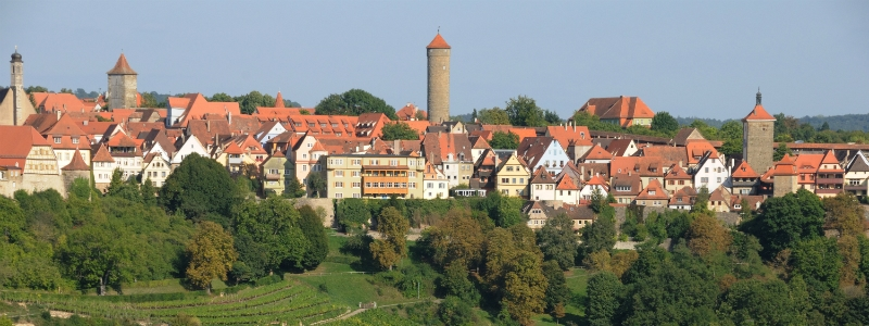 Romantic Fairy Tale Berlin Self-Drive Tour, City silhouette of Rothenburg ob der Tauber Germany to-europe.com