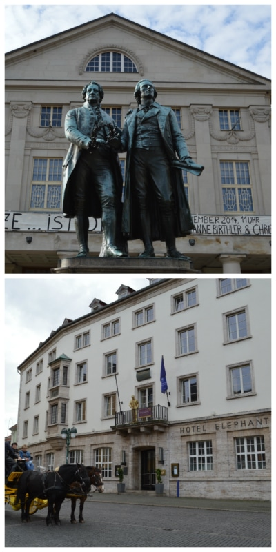 German Classics Rail Circle Tour, Goethe and Schiller Monument and Hotel Elephant in Weimar Germany to-europe.com