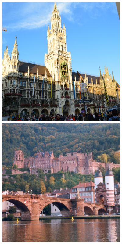 Germany & Switzerland Rail Circle Tour, New Town Hall Munich ©Thomas H. Giesick and Heidelberg Castle with Old Bridge ©Wowox via Wikimedia Commons