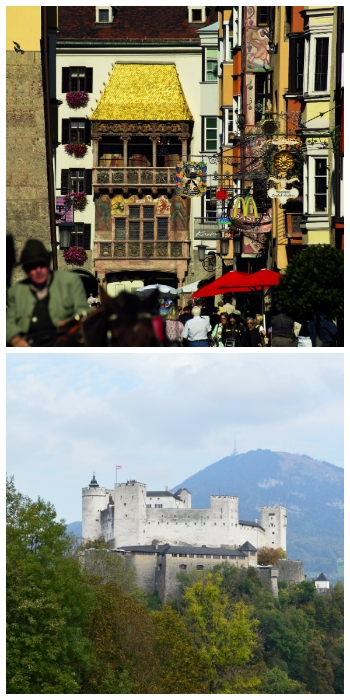 Munich, Innsbruck, Salzburg Rail Tour, Golden Roof in Innsbruck and Hohensalzburg in Salzburg Austria to-europe.com