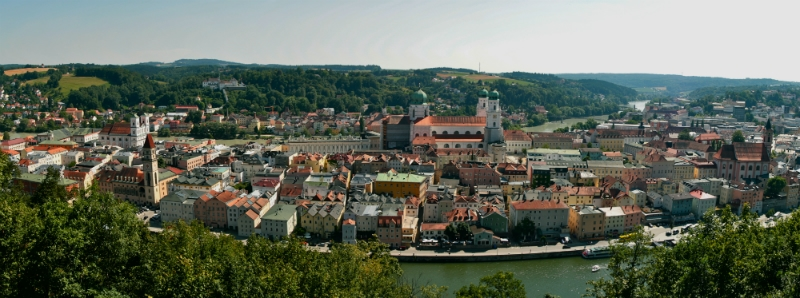 Blue Danube Rail Tour, Melk Cruise, View of Passau Germany to-europe.com