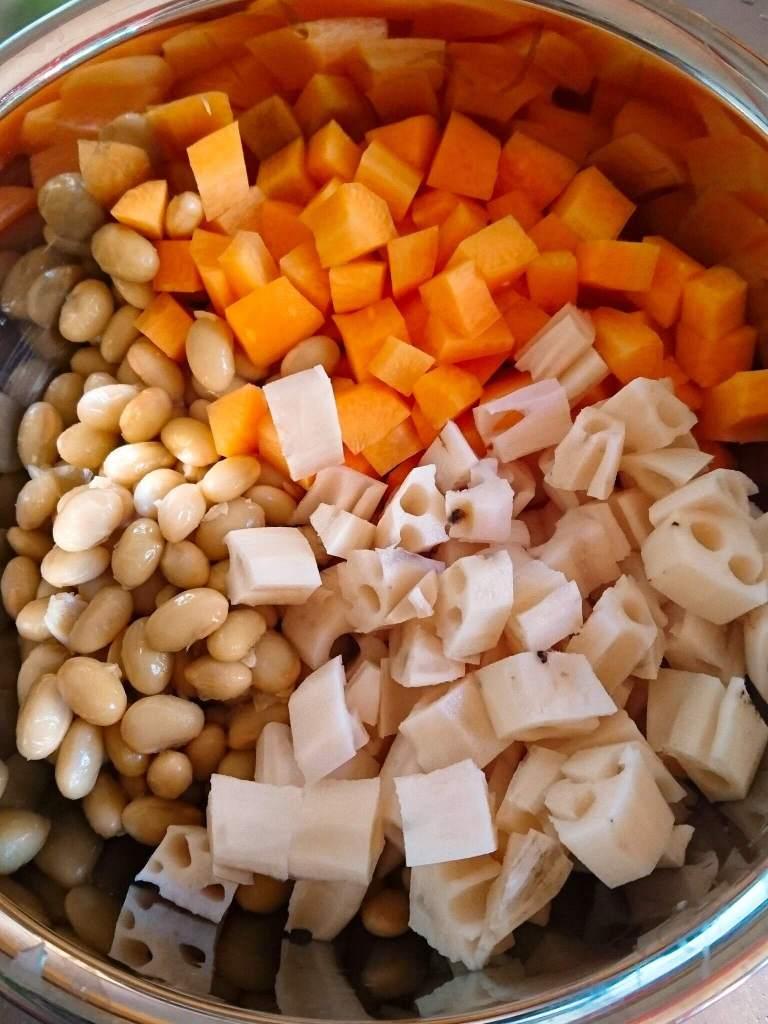 大豆レンコンアカモク煮 材料
