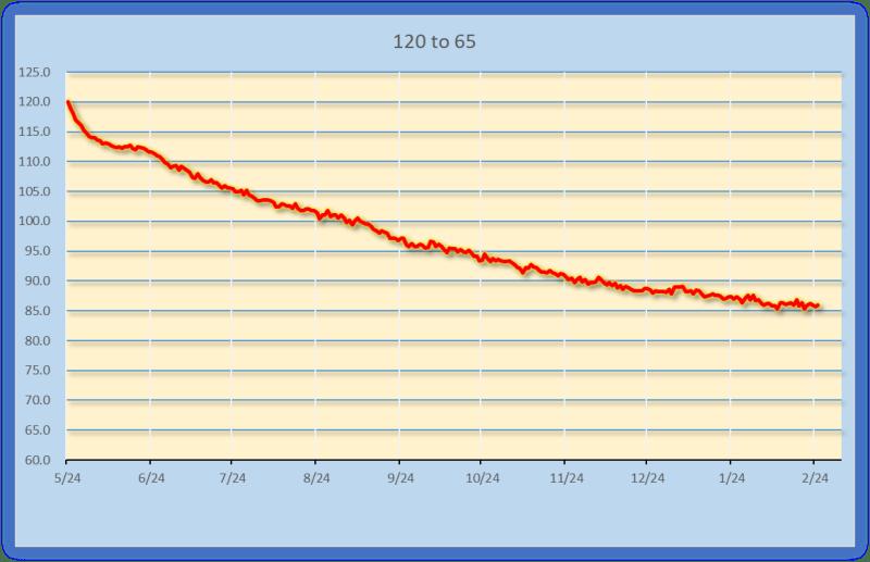 2019年2月までの減量グラフ