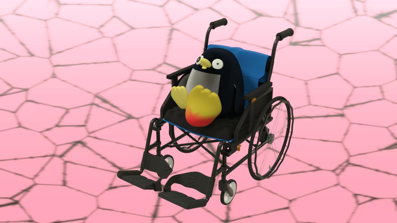 痛風で脚が腫れ上がる車椅子のペンギン